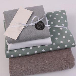 """Stoff-Paket """"Baby-Frottee  grau/weiß"""" +SnapPap"""