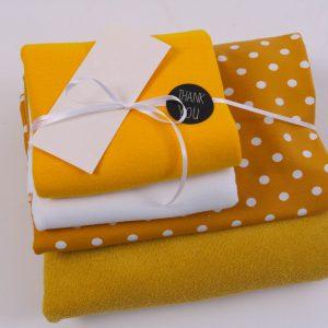 """Stoff-Paket """"Baby-Frottee  senf-gelb/weiß"""" +SnapPap"""
