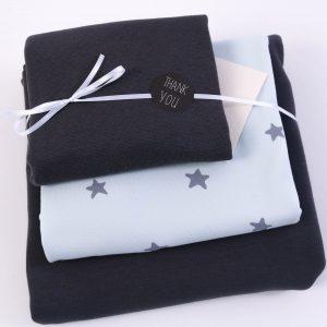 """Stoff-Paket """"Baby-Sterne hellblau/anthra"""" +SnapPap"""
