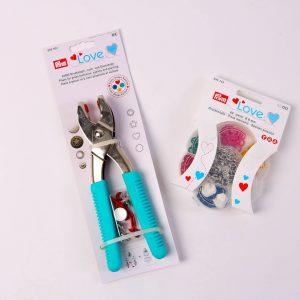 SET Prym LOVE mini Jersey Druckknöpfe 8mm buntes Set mit Zange