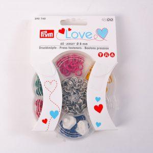 Prym LOVE mini Jersey Druckknöpfe 8mm buntes Set 60 Knöpfe