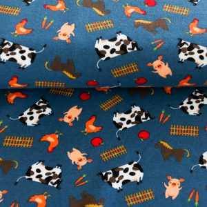 "Jersey ""Farm Animals"" in jeans-blau"