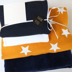 "Stoff-Paket ""Nicky+Sterne marine/senf"" +SnapPap"