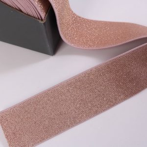 Reststück 90cm lang! Glitzergummi 4cm breit in rose-gold