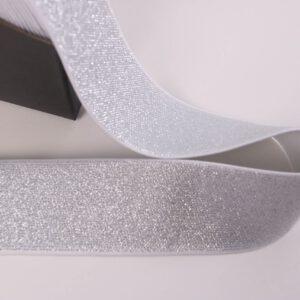 Reststück 85cm lang! Glitzergummi 5cm breit weiß/silber