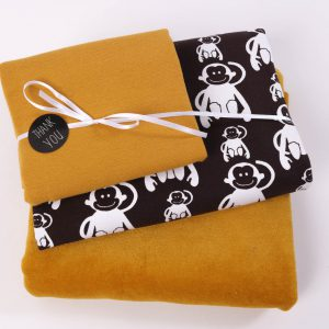 "Stoff-Paket ""Monkey"" braun/ senf"