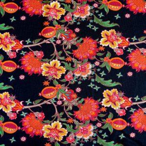 """Jersey """"Herbstblumen""""  in schwarz/bunt"""