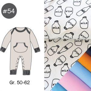 "Stoff-Paket mit Papierschnittmuster ""Retro Playsuit MILK"" Gr. 50-62  (Farbe wählbar)"