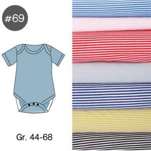 "Stoff-Paket mit Papierschnittmuster ""Baby-Body RINGEL"" Gr. 44-68  (Farbe wählbar)"