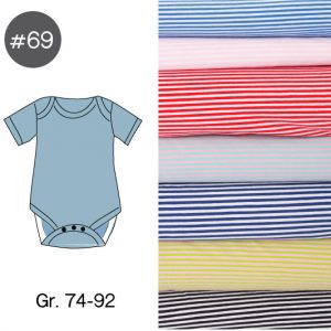 "Stoff-Paket mit Papierschnittmuster ""Baby-Body RINGEL"" Gr. 74-92  (Farbe wählbar)"