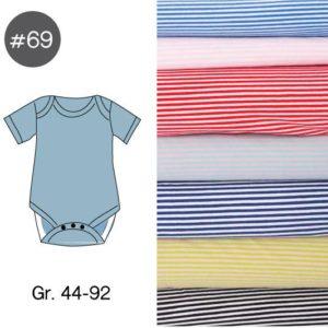 "SEWING-KIT Stoff und Papierschnittmuster ""Baby-Body RINGEL"" Gr. 44-92  (Farbe wählbar)"