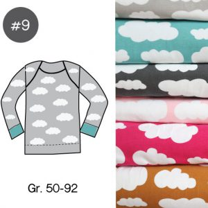 "Stoff-Paket mit Papierschnittmuster ""Baby-Basic-Shirt WOLKEN"" Gr. 50-92  (Farbe wählbar)"