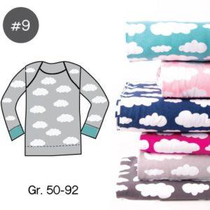 """SEWING-KIT Stoff und Papierschnittmuster """"Baby-Basic-Shirt WOLKEN"""" Gr. 50-92  (Farbe wählbar)"""