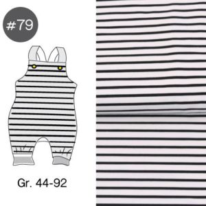 "SEWING-KIT Stoff+Papierschnittmuster ""Baby Latzhose Ringel schwarz/ecru"" Gr. 44-92  (Farbe wählbar)"