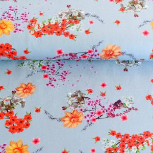 "Jersey ""flowers of Asia""  in soft-blue/ bunt"