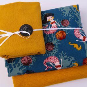 """Stoff-Paket """"Mermaid"""" senf/ blau"""