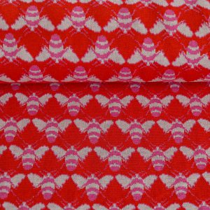 "Restmenge! Jacquard ""Little Bee"" in rot/pink/ecru"