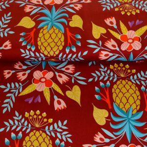 """Angebot! Baumwoll-Satin """"sweet Pineapple""""  rost/bunt  von Hamburger Liebe"""