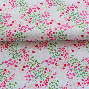 """Baumwollstoff  """"Millefleur"""" weiß/pink/rose/grün"""
