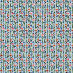 """100% Viscose Blusenstoff  """"Radiance-Flowers"""" bleu/ bunt"""