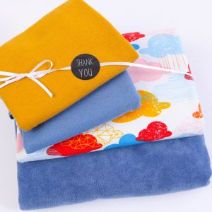 "Stoff-Paket ""Jersey ""happy Clouds"" mit Nicky in taubenblau/bunt"
