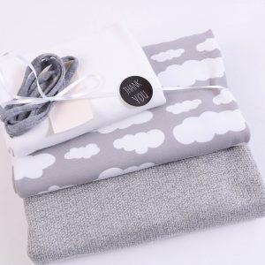 """Stoff-Paket """"Stricksweat Wolken grau"""" +SnapPap"""