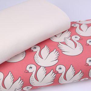 """Stoff-Paket  """"PATTY the Swan""""   Sweat und Bündchen  (Menge wählbar)"""