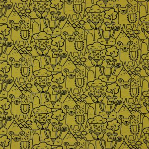 "Jersey ""Look at us""   in soft-mustard/schwarz"