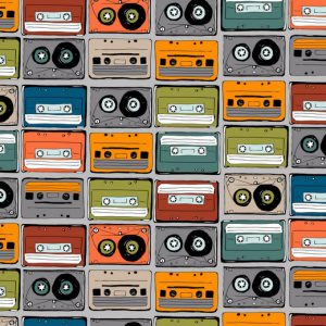 """Jersey """"Music Tapes"""" in grau/bunt"""