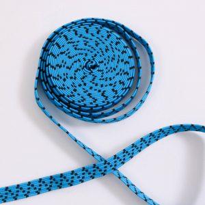 3m. Gummiband / Gummilitze  0,8mm breit blau/schwarz