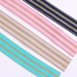 """4cm breit """"Streifen-Glitzergummi / Color-Elastic"""" mit goldenen Ringeln (Farbe wählbar)"""
