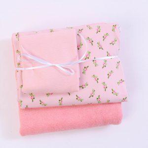 "Stoff-Paket ""Baby-Frottee-Rosen rose/weiß"""