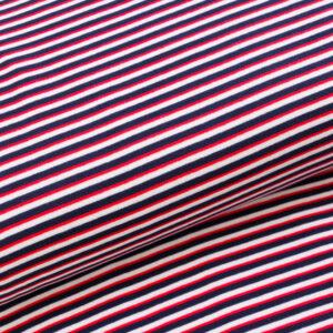 """Feinstrick Bündchen """"marine stripes"""" rot/weiß/marine"""