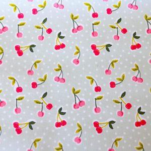 """Beschichtete Baumwolle/ Wachstuch """"Little Cherries"""" grau/bunt"""