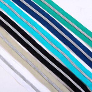 """1 m. """"Reißverschluss metallisiert silber"""" + 3 Schieber/ 6,5mm Raupe/ 3,4cm Breit    (Farbe wählen)"""
