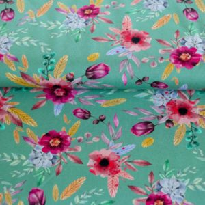 "Jersey ""Flower-Dreams""  in mint/bunt"