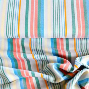 "100% Viscose Blusenstoff  ""multicolor-Stripes""  mit silber Lurexfaden"