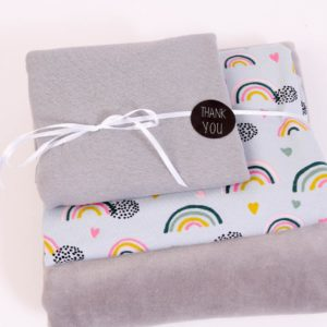 "Stoff-Paket Nicky ""Rainbow""  in grau"