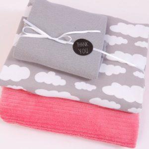 "Stoff-Paket Nicky ""Wolken""  in lollypop/ grau"
