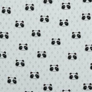 """feiner Pointoille Jersey mit Lochmuster  """"Panda"""" in weiß"""
