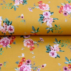 "Sommer-Sweat ""garden flowers""  digital Print in soft mustard"