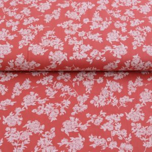 "Baumwoll- Blusenstoff ""washed Cotton flowers"" salmon"