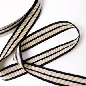 Retrostripe für Applikation gewebt 2,5cm breit  schwarz/gold/creme