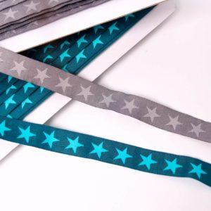 """Webband/ Flachkordel """"Stars""""  15mm breit   ( Farbe wählen)"""