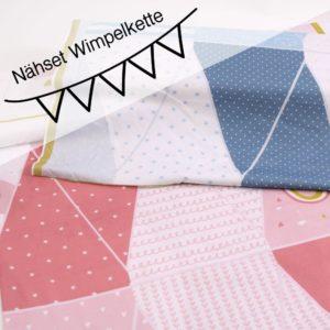 Nähset Baby WIMPELKETTE    Panel +Schrägband  (Farbe wählbar)
