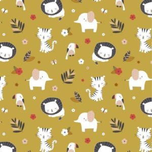 "Jersey ""Jungle Animals""  in soft mustard"