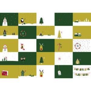Adventskalender Panel / 24 Säckchen verschieden bedruckt 100x140cm