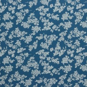 "Baumwoll- Blusenstoff ""washed Cotton flowers""   jeansblau"