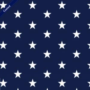 """Beschichtete Baumwolle/ Wachstuch """"BIG STARS"""" marine/weiß"""