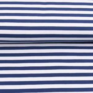 "Sommer-Sweat/ French Terry  ""solid Stripes""  in jeansblau/weiß"